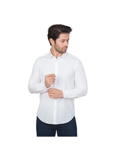White Stone Londra Pamuklu Regular Fit Cepsiz Gömlek Uzun Kol Beyaz Beyaz
